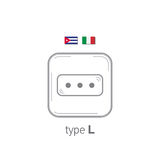 Sockets icon. Type L. AC power sockets realistic illustration. Different type power socket set, vector isolated icon Stock Photo