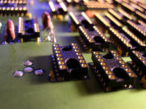 Sockets on a large electronics board Royalty Free Stock Images