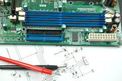 Sockets on printed circuit board. And electronic scheme Royalty Free Stock Images