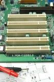 Sockets on printed circuit board Stock Photos