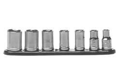 Sockets for Socket Wrench Macro Isolated. Isolated macro image of sockets for socket wrench Stock Photo