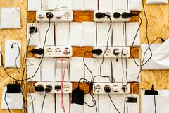 Place to charge your gadgets. Sockets on the wall for charging smartphone gadget phones Royalty Free Stock Image