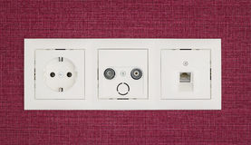 Sockets in the wall Royalty Free Stock Image