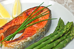 Sockeye salmon steak dinner
