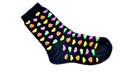 Sockie. Black sock with love written all over it Royalty Free Stock Photo