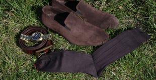 Sockor för man` s med skor Royaltyfria Bilder