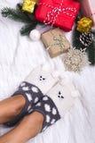 Sockor i form av en kattunge Fotografering för Bildbyråer