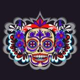Sockra skelettet med den blomma- och Mexico prydnadaffischen vektor illustrationer