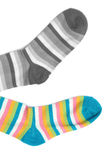 Socks. In a combination of multi-colored striped Royalty Free Stock Image