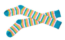Socks. Sock in a combination of multi-colored striped Stock Photos