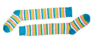 Socks. Sock in a combination of multi-colored striped Stock Image