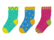Socks. Set of colorful downy socks Stock Image