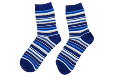 Socks. Pair of striped socks isolated on the white background Stock Photos