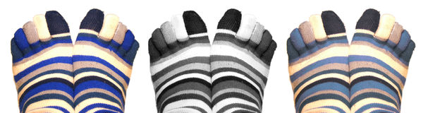 Socks. Three pair of socks, six feet Stock Images