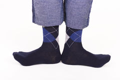 Socks. On pins and jeans Stock Photos