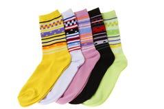 Socks. Colourful pairs of socks isolated on white background Royalty Free Stock Image