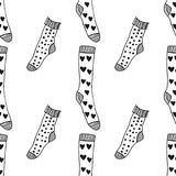 Socks. Black and white seamless pattern for coloring book and page. Knitted clothes. Vector illustration Royalty Free Stock Photo