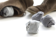 Socks and brown shoes Stock Images