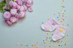 Socks and chrysanthemum flowers over grey background Royalty Free Stock Image
