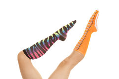Socks different color point toes Royalty Free Stock Photography