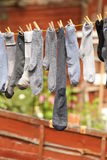 Socks drying outdoors Stock Photography