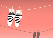 Socks drying on a string, laundry day,  illustration Royalty Free Stock Image