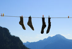 Socks drying Royalty Free Stock Image