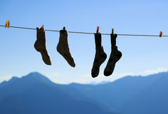Socks drying Royalty Free Stock Images