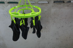 Socks drying Royalty Free Stock Image