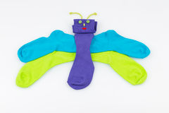 Socks in the form of a butterfly Stock Images
