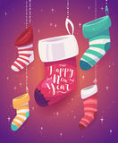 5 socks for gifts  the new year. Vector illustration of 5 cartoon colored socks for gifts for the new year. Vector cute illustration Royalty Free Stock Photos