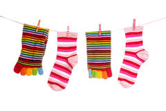 Socks hanging isolated Stock Photo