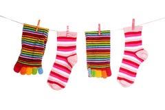 Socks hanging isolated. On white stock photo