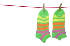 Socks Hanging Isolated On White Background Royalty Free Stock Photography