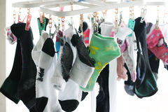 Socks on hanging Stock Images