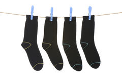 Socks hanging to dry Royalty Free Stock Photos