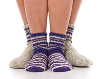 Socks on humans legs Royalty Free Stock Images