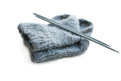 Socks and knitting needle Royalty Free Stock Photography
