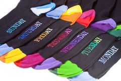 Socks lay with coloured heels Stock Photography