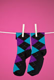 Socks on the line. A pair of Funky socks hanging on a clothesline with a magenta background stock photo