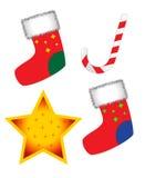Socks, lollipop and star. Illustration of christmas socks, lollipop and star Stock Photo