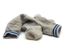 Socks. Pair of grey socks isolated on a white Stock Photo