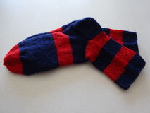 Socks. A pair of handmade socks royalty free stock image