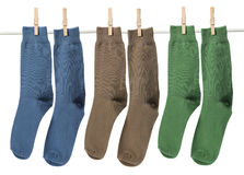 Socks with Pegs Royalty Free Stock Images