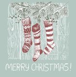 Socks presents christmas blue pink traditional vector card vector illustration
