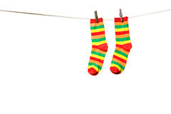 Socks on a rope Royalty Free Stock Image