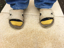 Socks and Sandals Royalty Free Stock Photography
