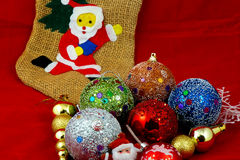 Socks of Santa Clause& Chirstmas Balls Royalty Free Stock Image