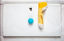 Socks stick out from drawer. Slovenly person concept Royalty Free Stock Photo