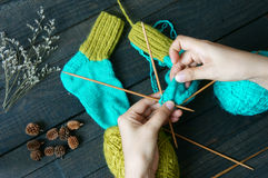 Socks, stockings, winter, knit, handmade Stock Photos